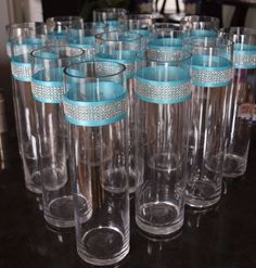 Tiffany Blue Bling Glass Vases