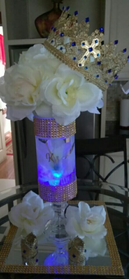 gold rhinestone bling vase with gold bling mirror set