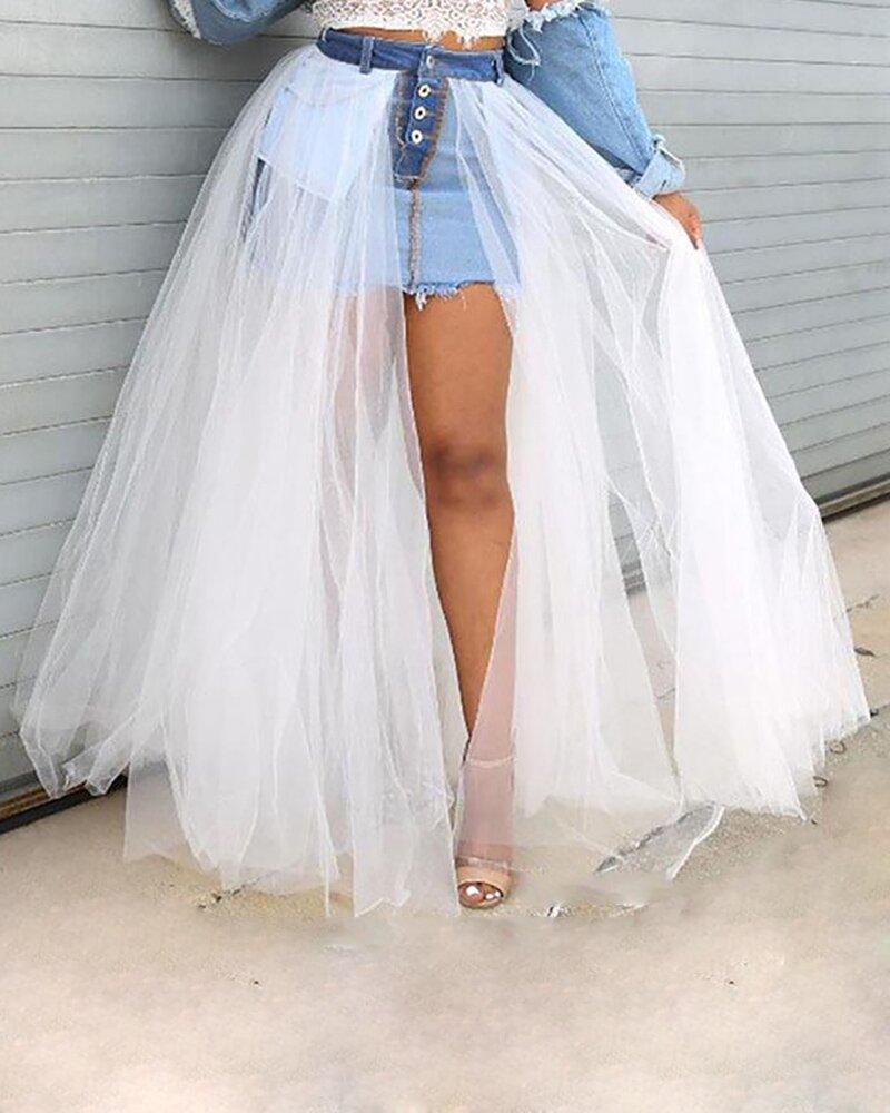 Mesh skirt dress