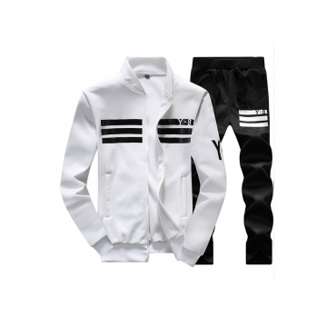 White and black 2 piece polyester suit