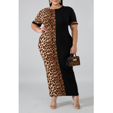 Pus Size lepeard & Black Dress