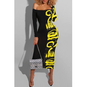 Black &Yellow Knee length Dress