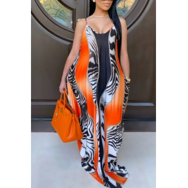 Orange Printed Maxi Dress