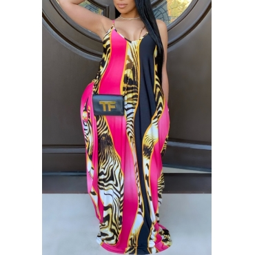 Pink Printed Maxi Dress