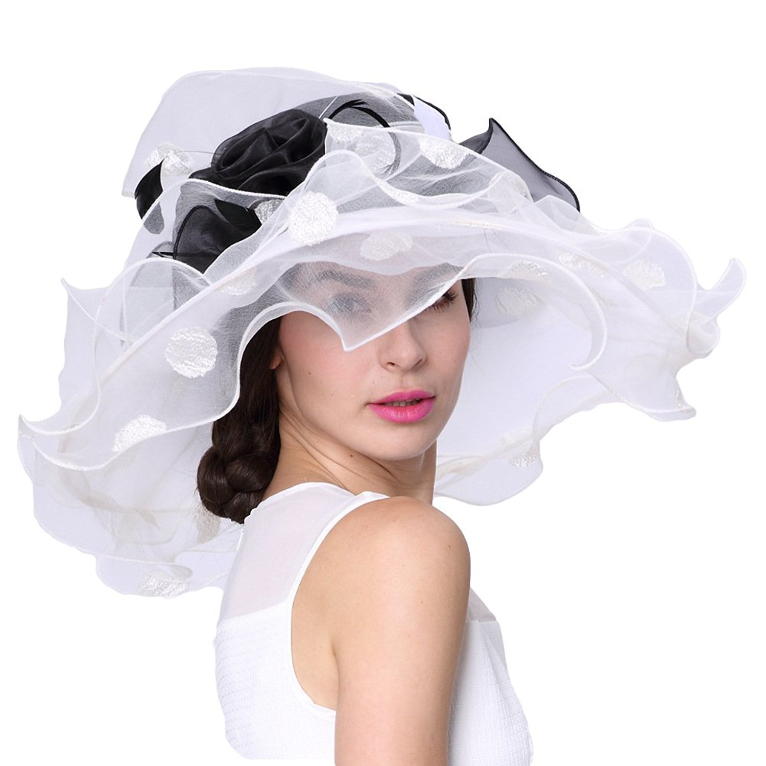 Black & white wide Brim Elegant Hat