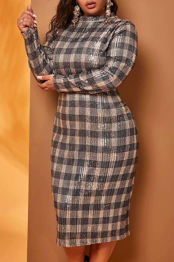Sequin Plaid Dress