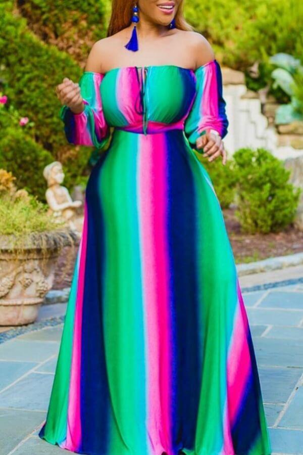 Mutl color casual dress