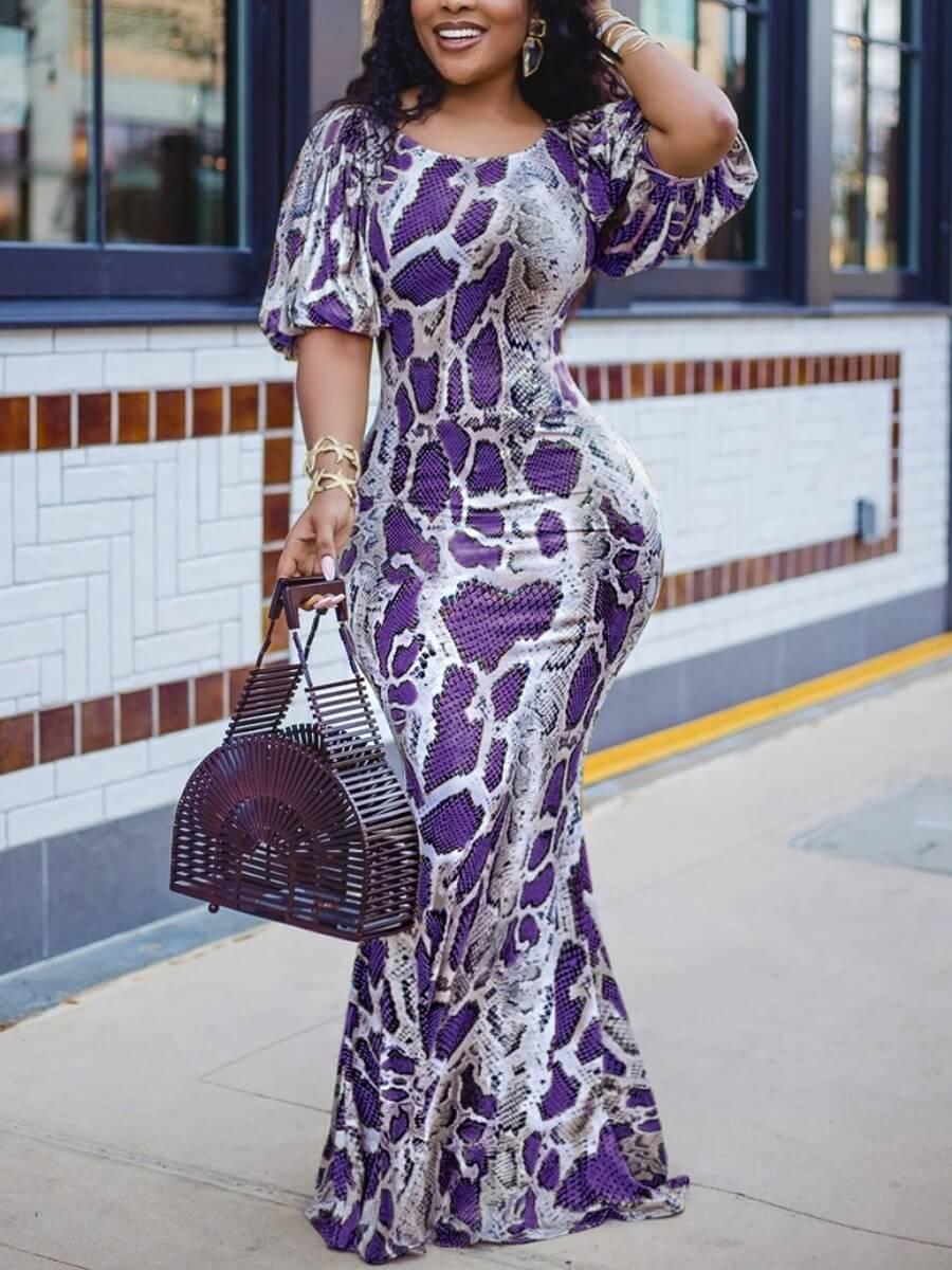 Purple Snake skin elegant dress