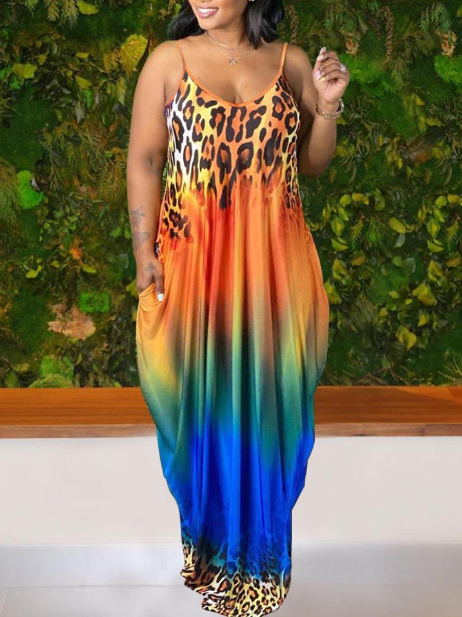 multi color leopard maxi dress