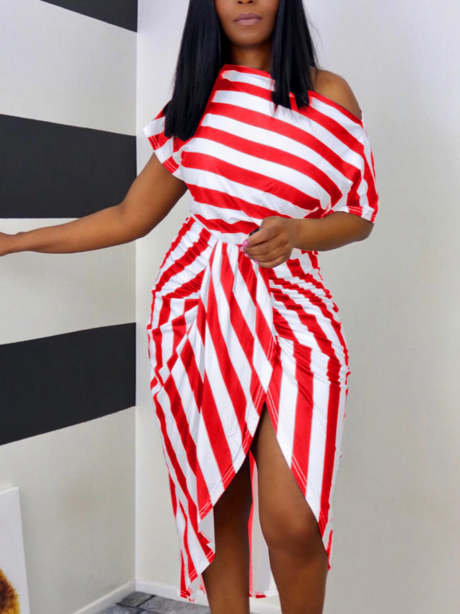 Red and White Stripe casual dress