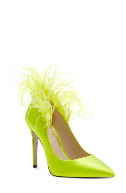 Lime green feather heel