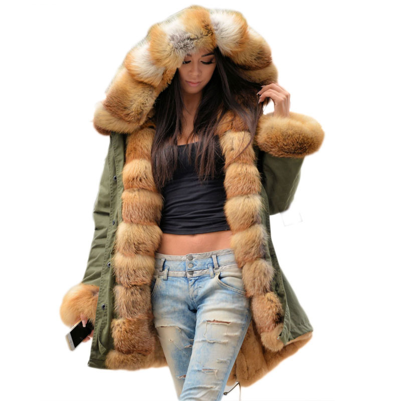 Women Parka fur hooded coat