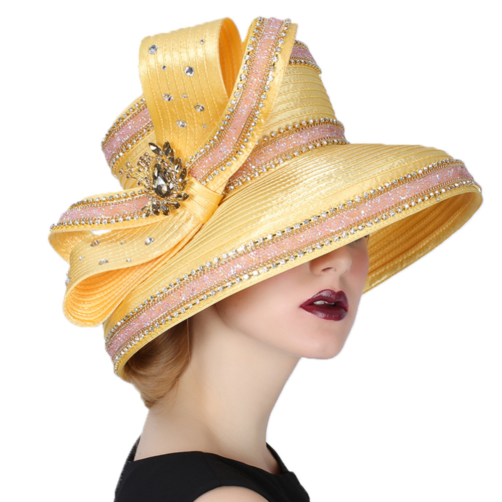 Yellow Elegant Rhinestone Hat