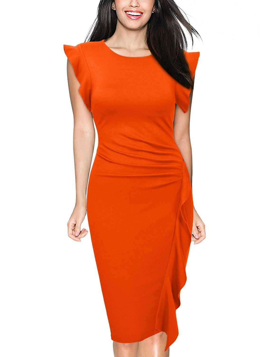 Orange women Elegant Dress