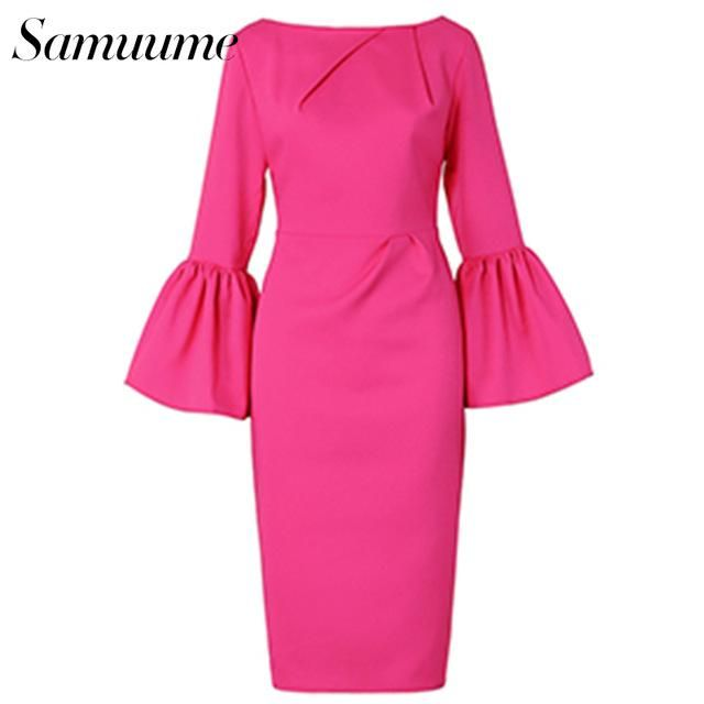 Pink women elegant ruffle dress