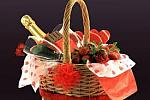 Custom Romantic Love picnic Basket with Apple Cider Wine