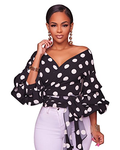 Polka dot women tie up blouse