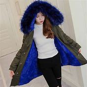 Women Parka Blue Fur hooded jacket
