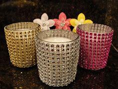 rhinestone multi color candle set