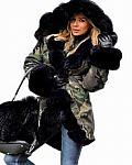 Women Parka Army Fatigue black  Fur hooded jacket