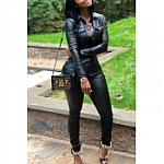 Black Two Piece  Leather Pants Suit